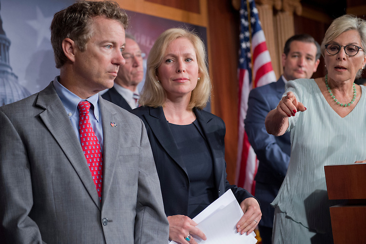 UNITED STATES - JULY 16: From left, Sens. Rand Paul, R-Ky., Charles Grassley, R-Iowa, Kirsten Gillibrand, D-N.Y., Ted Cruz, R-Texas, and Barbara Boxer, D-Calif., conduct a news conference in the Capitol on legislation that would create a new process for reviewing cases of military sexual assault and alleviate victims' fear of reporting an incident. (Photo By Tom Williams/CQ Roll Call)