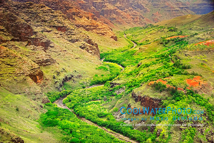 "Meandering Waimea River and Waimea Canyon, the ""Grand Canyon of the Pacific"", approximately one mile wide and ten miles long, more than 3,500 feet deep, State Park, Kauai, Hawaii"