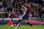 Cristiano Ronaldo (l) of Real Madrid competes for the ball with David Rodriguez Lomban of SD Eibar during the La Liga 2017-18 match between Real Madrid and SD Eibar at Estadio Santiago Bernabeu on 22 October 2017 in Madrid, Spain. Photo by Diego Gonzalez / Power Sport Images