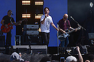 Washington, DC - April 18, 2015: The pop-rock band Train, with lead vocalist Patrick Monohan, performs at the annual Earth Day concert on the National Mall in the District of Columbia April 18, 2015. The concert, sponsored by Earth Day Network and The Global Poverty Project, promotes ending extreme poverty and solving climate change.  (Photo by Don Baxter/Media Images International)