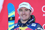 Valentin GIRAUD MOINE at the podium during the FIS Alpine Ski World Cup Men's Downhill in Kitzbuehel, on January 21, 2017. Italy's Dominik PARIS wins ahead of French Valentin GIRAUD MOINE, third also a French, Johan CLAREY.