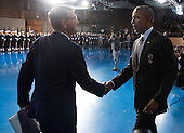 United States President Barack Obama shakes hands with Secretary of Defense Ashton Carter during President Obama's Armed Forces Full Honor Review Farewell Ceremony at Joint Base Myers-Henderson Hall, in Virginia on January 4, 2017. The five braces of the military honored the president and vice-president for their service as they conclude their final term in office. <br /> Credit: Kevin Dietsch / Pool via CNP