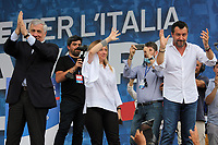 Italian center-right leaders, Antonio Tajani (Forza Italia), Giorgia Meloni (Fratelli d'Italia) and Matteo Salvini (Lega Nord) during the demonstration of the center-right parties at Piazza del Popolo, Together for the Italy of work. Rome (Italy), July 4th 2020<br /> Foto Insidefoto
