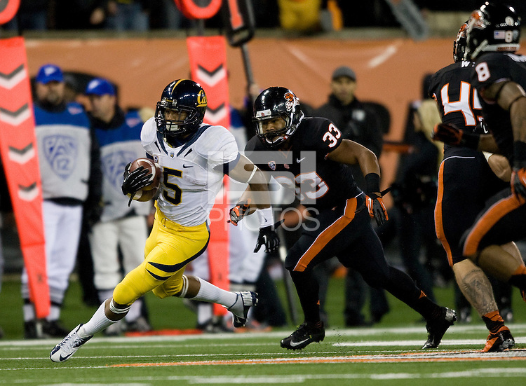 Brendan Bigelow of California runs the ball during the game against Oregon State Beavers at Reser Stadium in Corvallis, Oregon on November 17th, 2012.  Oregon State defeated California, 62-14.