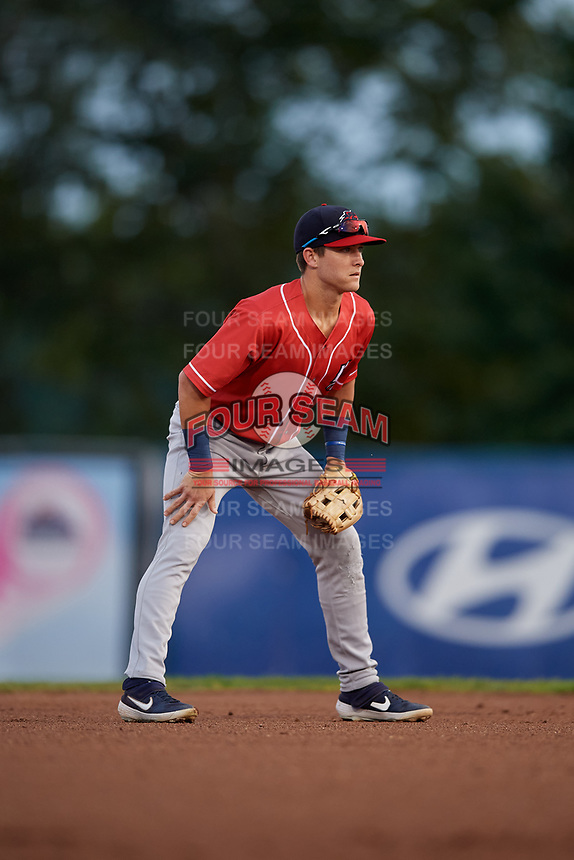New Hampshire Fisher Cats shortstop Logan Warmoth (5) during an Eastern League game against the Trenton Thunder on August 20, 2019 at Arm & Hammer Park in Trenton, New Jersey.  New Hampshire defeated Trenton 7-2.  (Mike Janes/Four Seam Images)