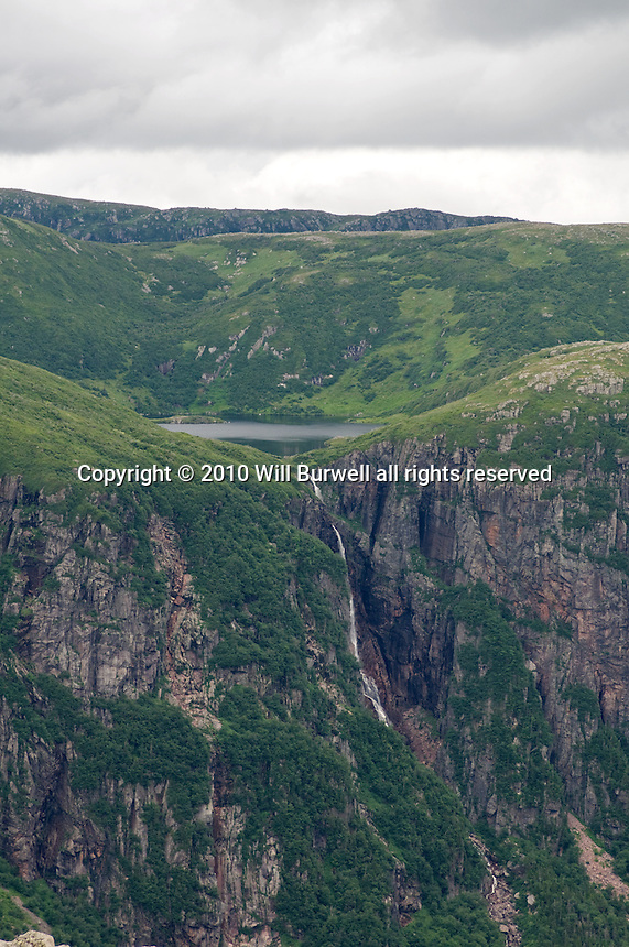 View of Water Falls from Gros Morne Mountain falling into Ten Mile Pond