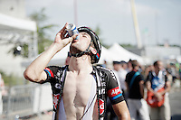 Albert Timmer (NLD/Giant-Alpecin) hydrating straight after finishing<br /> <br /> stage 13: Muret - Rodez<br /> 2015 Tour de France
