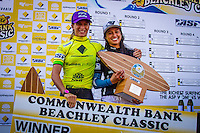 "DEE WHY, Sydney NSW/AUS (Saturday, April 21, 2012) Courtney Conlogue (USA) and Malia Manuel (HAW).  The Finals of the 2012 Commonwealth Bank Beachley Classic were completed today with Courtney Conlogue (USA) defeating Malia Manuel (HAW) for her first elite women's tour event win. Both finalist had never made it as far before in an ASP World Tour event. The surf was clean, with two-to-three foot (1.5 meter) waves on offer for the Top 17 female surfers in the world to battle for the richest prize purse on the ASP Womens World Championship Tour.. .Stop No. 4 of 7 on the 2012 ASP Womens World Championship Tour, the Commonwealth Bank Beachley Classic is run by seven-time ASP Womens World Champion Layne Beachley, and is in its seventh year.. .""There are a lot of sevens in my life at the moment,"" Beachley said. ""I'm so proud I've been able to run this event for seven years. I'm really appreciative of the Commonwealth Bank's support and am thrilled with the level of women's surfing. It's Finals day today. We've had a decrease in swell, but the girls are incredible at what they do and I'm sure they'll be able to put on a great show today. I'll be getting in the water later in the day for the celebrity challenge, and the Nikon Expression Session."" .Manuel defeated Stephanie Gilmore (AUS) in the quarterfinals and Conlogue defeated Sally Fitzgibbons (AUS) also in the quarterfinals. Gilmore remains number one on the world tour ratings with Fitzgibbons in second place. Photo: joliphotos.com"