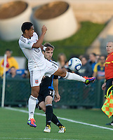Andy Najar of DC United tries to block Earthquakes' Bobby Convey's kick during the game at Buck Shaw Stadium in Santa Clara, California on July 30th, 2011.   DC United defeated San Jose Earthquakes, 2-0.