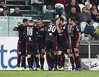 Calcio, Serie A: Juventus - Caglairi, Turin, Allianz Stadium, November 3, 2018.<br /> Cagliari's Joao Pedro celebrates after scoring with his teammates during the Italian Serie A football match between Juventus and Cagliari at Torino's Allianz stadium, November 3, 2018.<br /> UPDATE IMAGES PRESS/Isabella Bonotto