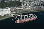 Aerial photograph of  a Grain Tanker on Elliott Bay outside Seattle