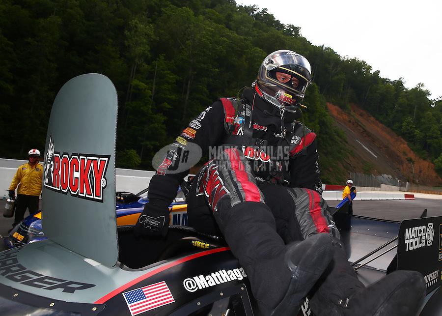 Jun 21, 2015; Bristol, TN, USA; NHRA funny car driver Matt Hagan celebrates after winning the Thunder Valley Nationals at Bristol Dragway. Mandatory Credit: Mark J. Rebilas-