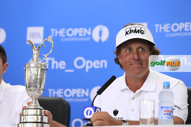 Phil MICKELSON (USA) is the Champion Golfer at the 142th Open Championship Muirfield, Gullane, East Lothian, Scotland 21/7/2013<br /> Picture Eoin Clarke www.golffile.ie: