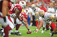 Sept. 13, 2009; Glendale, AZ, USA; Arizona Cardinals center Lyle Sendlein prepares to hike the ball against the San Francisco 49ers at University of Phoenix Stadium. San Francisco defeated Arizona 20-16. Mandatory Credit: Mark J. Rebilas-