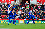 4th November 2017, bet365 Stadium, Stoke-on-Trent, England; EPL Premier League football, Stoke City versus Leicester City; Peter Crouch of Stoke City jumps to score the equaliser in the 73rd minute making it 2-2