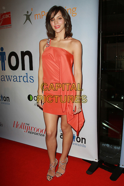 KATHARINE McPHEE .First Annual Global Action Forum Gala Held At The Beverly Hilton Hotel, Beverly Hills, California, USA, .18th Febuary 2011..full length dress strappy silver sandals one peach orange shoulder strap beaded .CAP/ADM/KB.©Kevan Brooks/AdMedia/Capital Pictures.