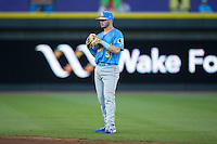 Myrtle Beach Pelicans second baseman Ian Happ (5) on defense against the Winston-Salem Dash at BB&T Ballpark on April 18, 2016 in Winston-Salem, North Carolina.  The Pelicans defeated the Dash 6-4.  (Brian Westerholt/Four Seam Images)