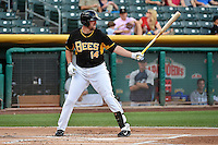 Salt Lake Bees designated hitter John Buck (14) at bat against the Reno Aces in Pacific Coast League action at Smith's Ballpark on July 23, 2014 in Salt Lake City, Utah.  (Stephen Smith/Four Seam Images)