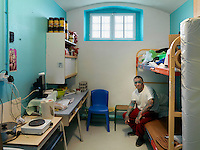 A prisoner in his cell in Bois-d'Arcy prison.