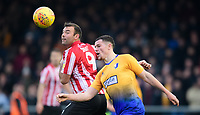 Lincoln City's Matt Rhead vies for possession with Mansfield Town's Matt Preston<br /> <br /> Photographer Chris Vaughan/CameraSport<br /> <br /> The EFL Sky Bet League Two - Lincoln City v Mansfield Town - Saturday 24th November 2018 - Sincil Bank - Lincoln<br /> <br /> World Copyright &copy; 2018 CameraSport. All rights reserved. 43 Linden Ave. Countesthorpe. Leicester. England. LE8 5PG - Tel: +44 (0) 116 277 4147 - admin@camerasport.com - www.camerasport.com