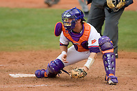 Catcher John Nester #17 of the Clemson Tigers waits for the runner at home plate versus the North Carolina Tar Heels at Durham Bulls Athletic Park May 23, 2009 in Durham, North Carolina. The Tigers defeated the Tar Heals 4-3 in 11 innings.  (Photo by Brian Westerholt / Four Seam Images)