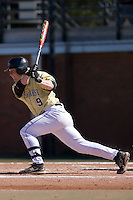Designated hitter Willy Fox (9) of the Wake Forest Demon Deacons follows through on his swing versus the Clemson Tigers during the second game of a double header at Gene Hooks Stadium in Winston-Salem, NC, Sunday, March 9, 2008.