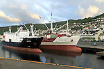 Cargo ships in harbour at Kristiansund, Romsdal county, Norway