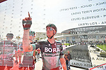Sam Bennett (IRL) Bora-Hansgrohe signs on before the start of Stage 2 of the 2019 UAE Tour, running 184km form Yas Island Yas Mall to Abu Dhabi Breakwater Big Flag, Abu Dhabi, United Arab Emirates. 25th February 2019.<br /> Picture: LaPresse/Massimo Paolone | Cyclefile<br /> <br /> <br /> All photos usage must carry mandatory copyright credit (© Cyclefile | LaPresse/Massimo Paolone)
