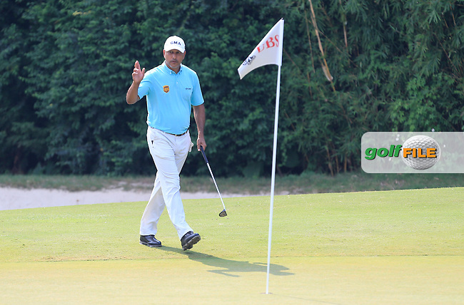 Jeev Milkha Singh (IND) on the 11th green during Round 1 of the 2015 UBS Hong Kong Open at the Hong Kong Golf Club in The Netherlands on 2/10/15.<br /> Picture: Thos Caffrey | Golffile