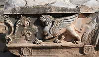 Picture of a Griffin Frieze from the ruins of the Ancient Ionian Greek  Didyma Temple of Apollo & home to the Oracle of Apollo.  Also known as the Didymaion completed circa 550 BC. modern Didim in Aydin Province, Turkey.