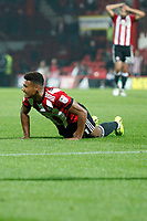 Ollie Watkins of Brentford sees his chance go begging during the Sky Bet Championship match between Brentford and Derby County at Griffin Park, London, England on 26 September 2017. Photo by Carlton Myrie / PRiME Media Images.