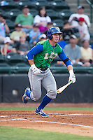 Ben Johnson (6) of the Lexington Legends starts down the first base line against the Hickory Crawdads at L.P. Frans Stadium on April 29, 2016 in Hickory, North Carolina.  The Crawdads defeated the Legends 6-2.  (Brian Westerholt/Four Seam Images)