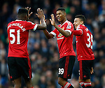Marcus Rashford of Manchester United celebrates the win with Timothy Fosu-Mensah of Manchester United during the Barclays Premier League match at The Etihad Stadium. Photo credit should read: Simon Bellis/Sportimage