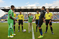 San Jose, CA - Saturday June 24, 2017: Coin Toss, Chris Wondolowski, Nick Rimando, Fotis Bazakos, Brian Poeschel, Logan Brown, Alejandro Mariscal during a Major League Soccer (MLS) match between the San Jose Earthquakes and Real Salt Lake at Avaya Stadium.