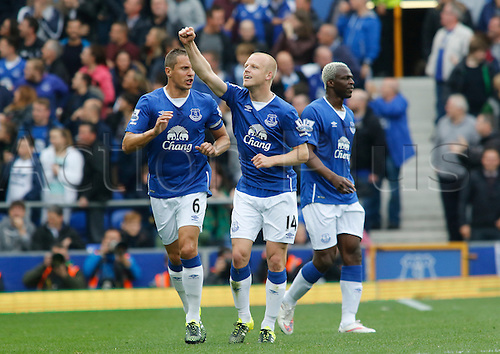 12.09.2015. Liverpool, England. Barclays Premier League. Everton versus Chelsea. Everton striker Steven Naismith celebrates after scoring his team's second goal.