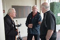 From left, Larry Layne '71, Robin Paulsen '63 and Bill T. Redell '64<br /> Occidental College alumni, staff and other members of the Oxy community gather in support of the football program, March 10, 2018 on Branca Patio.<br /> In January 2018 a 16-member task force of trustees, faculty, students, staff and alumni met to determine the fate of the football program in the wake of the premature end of the 2017 season. The College is moving full speed ahead with preparations for the 2018 season, led by the Football Action Team.<br /> (Photo by Marc Campos, Occidental College Photographer)
