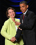United States President Barack Obama (R) greets U.S. Senator Blanche Lincoln (D-AR) after signing the Dodd-Frank Wall Street Reform and Consumer Protection Act at the Ronald Reagan Building, Wednesday, July 21, 2010 in Washington, DC. The bill is the strongest financial reform legislation since the Great Depression and also creates a consumer protection bureau that oversees banks on mortgage lending and credit card practices.  .Credit: Win McNamee - Pool via CNP