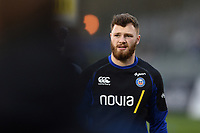 Max Wright of Bath Rugby looks on during the pre-match warm-up. Gallagher Premiership match, between Bath Rugby and Sale Sharks on December 2, 2018 at the Recreation Ground in Bath, England. Photo by: Patrick Khachfe / Onside Images