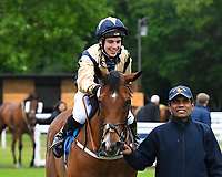 Winner of The Shadwell Racing Excellence Apprentice Handicap Handytalkridden by Oliver Searle and trained by Rod Millman is led into The Winners enclosure during Evening Racing at Salisbury Racecourse on 11th June 2019