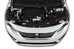 Car stock 2019 Peugeot 5008 Allure 5 Door SUV engine high angle detail view