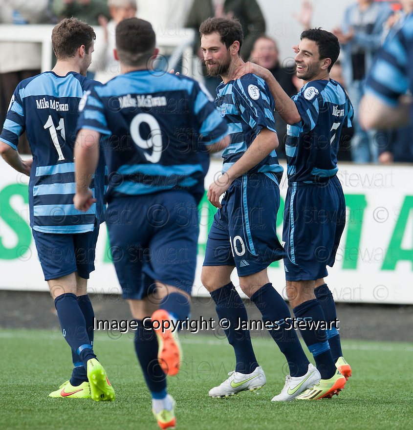 Forfar's Gavin Swankie (10) celebrates after he scores their second goal.