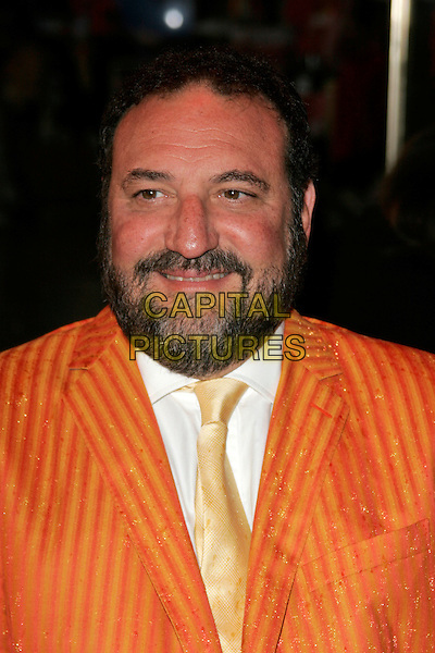 "JOEL SILVER .Arriving at the ""Speed Racer"" UK film premiere, Empire Leicester Square, London, England..April 28th 2008.headshot portrait orange pinstripe suit beard facial hair .CAP/AH.©Adam Houghton/Capital Pictures."