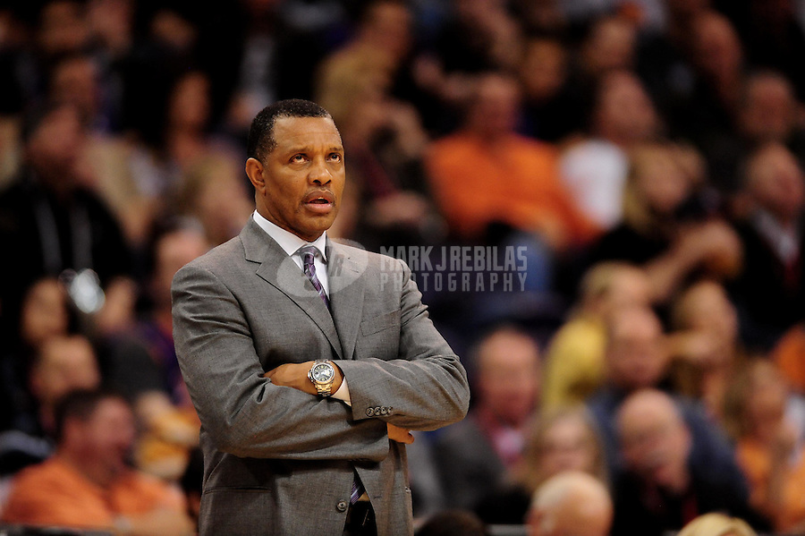 Dec. 8, 2010; Phoenix, AZ, USA; Phoenix Suns head coach Alvin Gentry reacts in the second half against the Memphis Grizzlies at the US Airways Center. Memphis defeated Phoenix 104-98 in overtime. Mandatory Credit: Mark J. Rebilas-