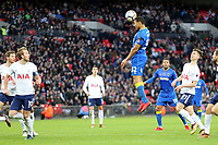 Darius Charles of AFC Wimbledon tests Michel Vorm of Tottenham with a header during Tottenham Hotspur vs AFC Wimbledon, Emirates FA Cup Football at Wembley Stadium on 7th January 2018