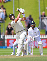 NZ's Kyle Jamieson skies the ball to be caught for 44 during day three of the International Test Cricket match between the New Zealand Black Caps and India at the Basin Reserve in Wellington, New Zealand on Sunday, 23 February 2020. Photo: Dave Lintott / lintottphoto.co.nz