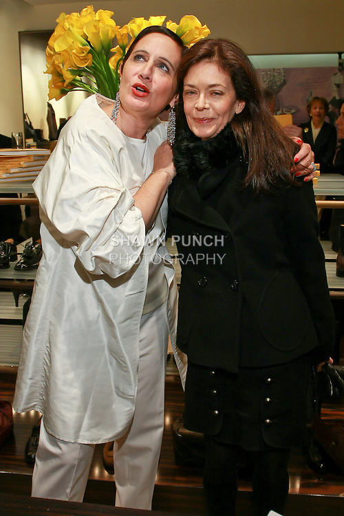"""Rebecca Moses and her book agent Shelly Wanger at the Rebecca Moses """"A Life of Style"""" book signing at Fratelli Rossetti Boutique, November 11, 2010."""