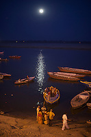 Moonrise over the Ganges River Varanasi India,  and Holi Festival