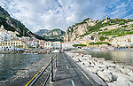 View of Amalfi town from Pier. Amalfi Coast, Italy