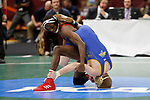 CLEVELAND, OH - MARCH 16: Seth Gross, of South Dakota State, wrestles Tariq Wilson, of NC State, in the 133 weight class during the Division I Men's Wrestling Championship held at Quicken Loans Arena on March 16, 2018 in Cleveland, Ohio. (Photo by Jay LaPrete/NCAA Photos via Getty Images)