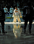 30 October 2010: University of Vermont Catamount goaltender Rob Madore, a Junior from  Pittsburgh, PA, is introduced prior to facing the University of Maine Black Bears at Gutterson Fieldhouse in Burlington, Vermont. The Black Bears defeated the Catamounts 3-2 in sudden death overtime. Mandatory Credit: Ed Wolfstein Photo